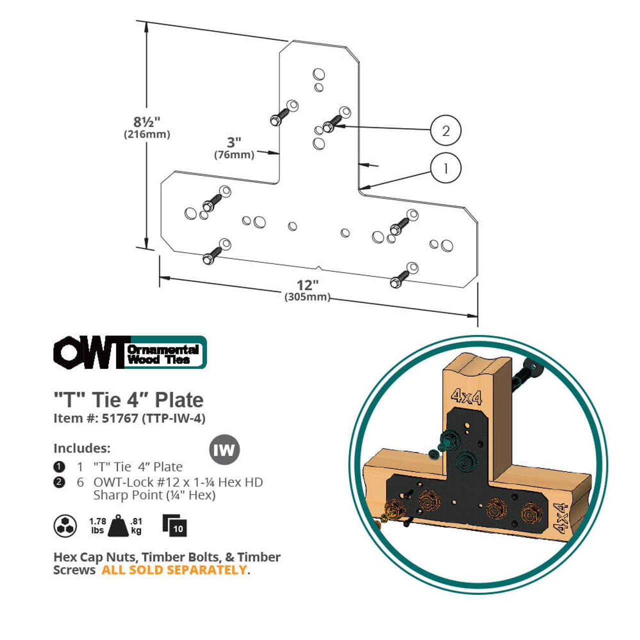 T-Tie Truss Tie Plate Drawing from OZCO Ornamental Wood Ties Hardware
