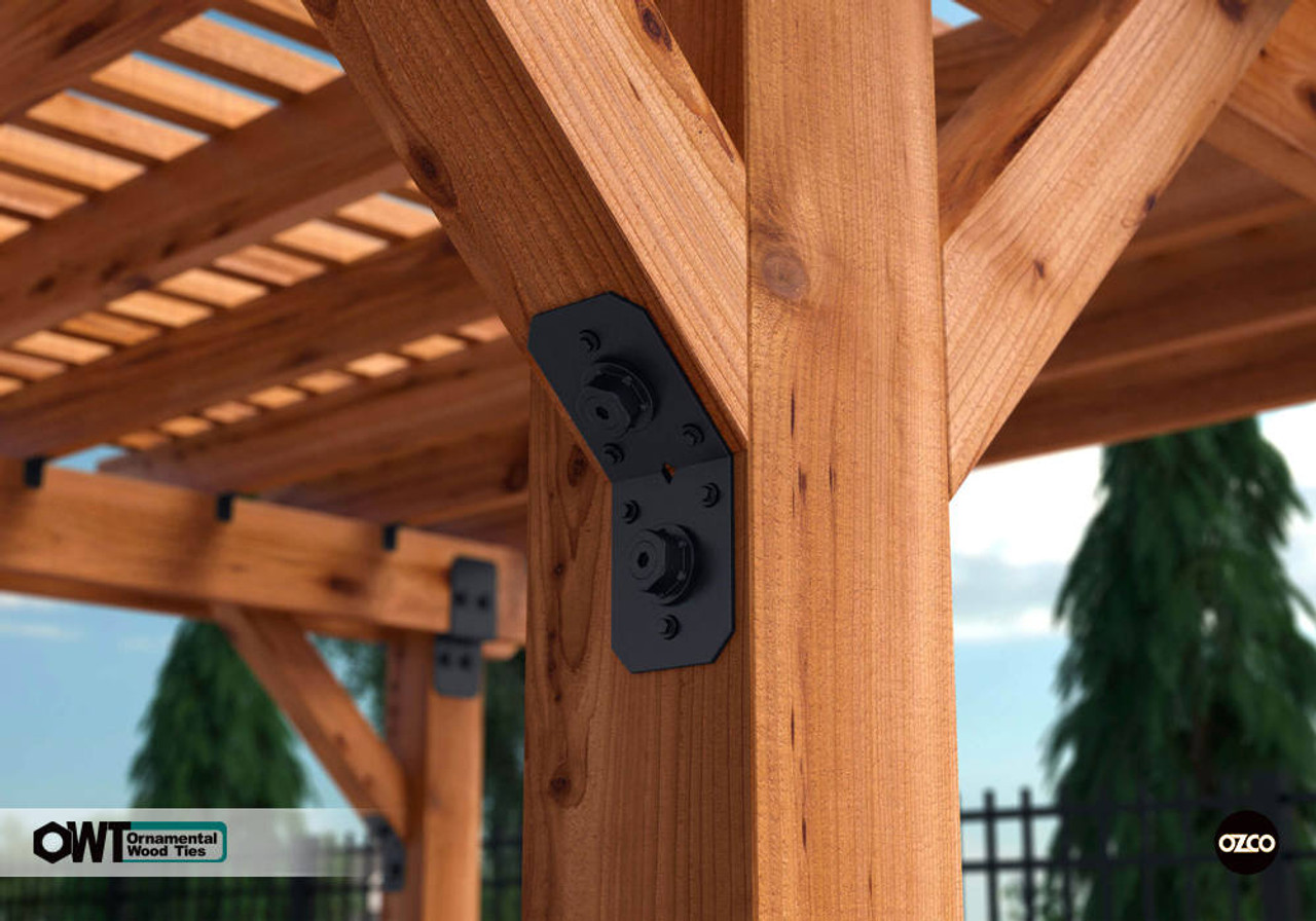 "Pergola Built Using OZCO OWT Hardware 4"" Flush Inside 45 Angle Brackets"