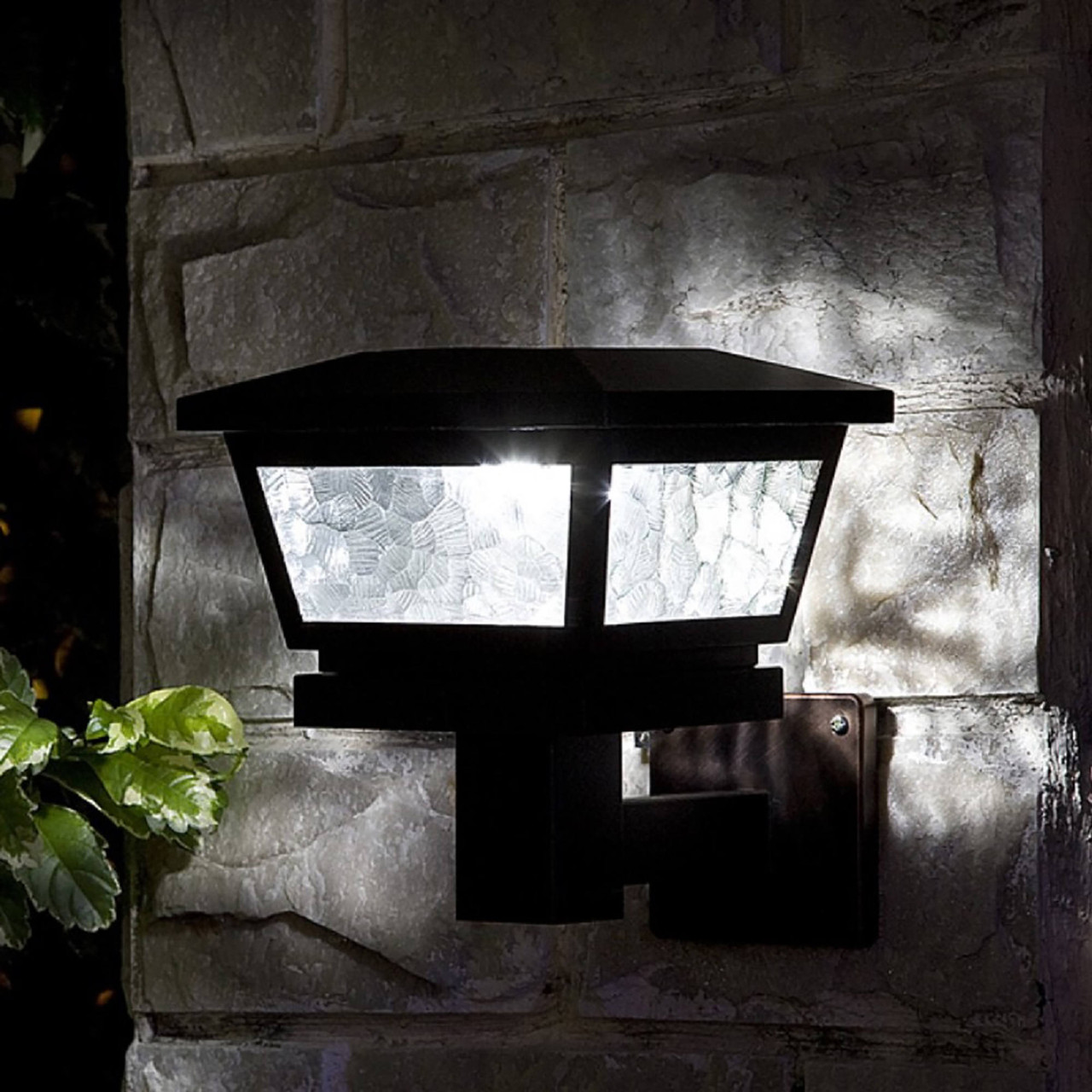 Fairmont Black Solar Light on Stone Wall from Classy Caps