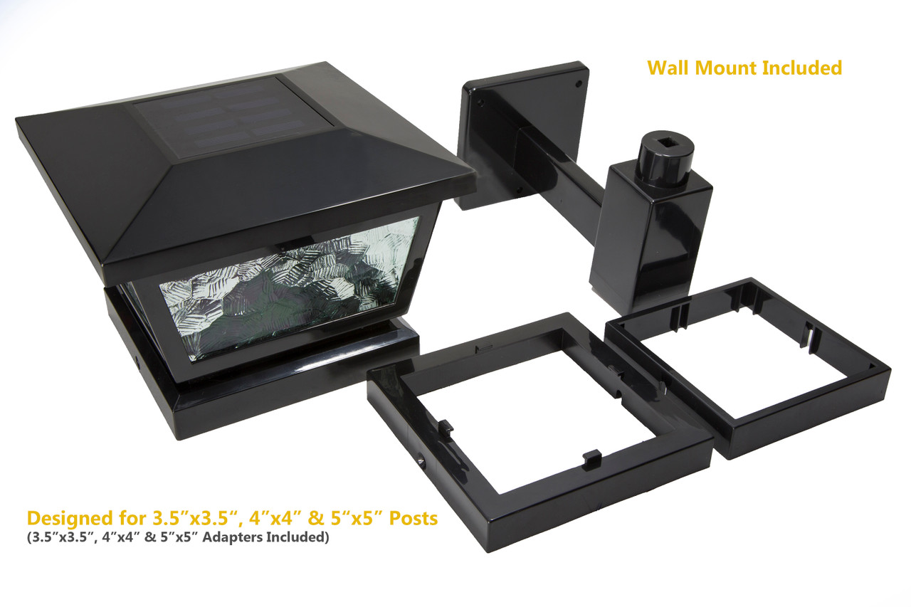 Fairmont Solar Post Cap with Post Adapters and Wall Mount