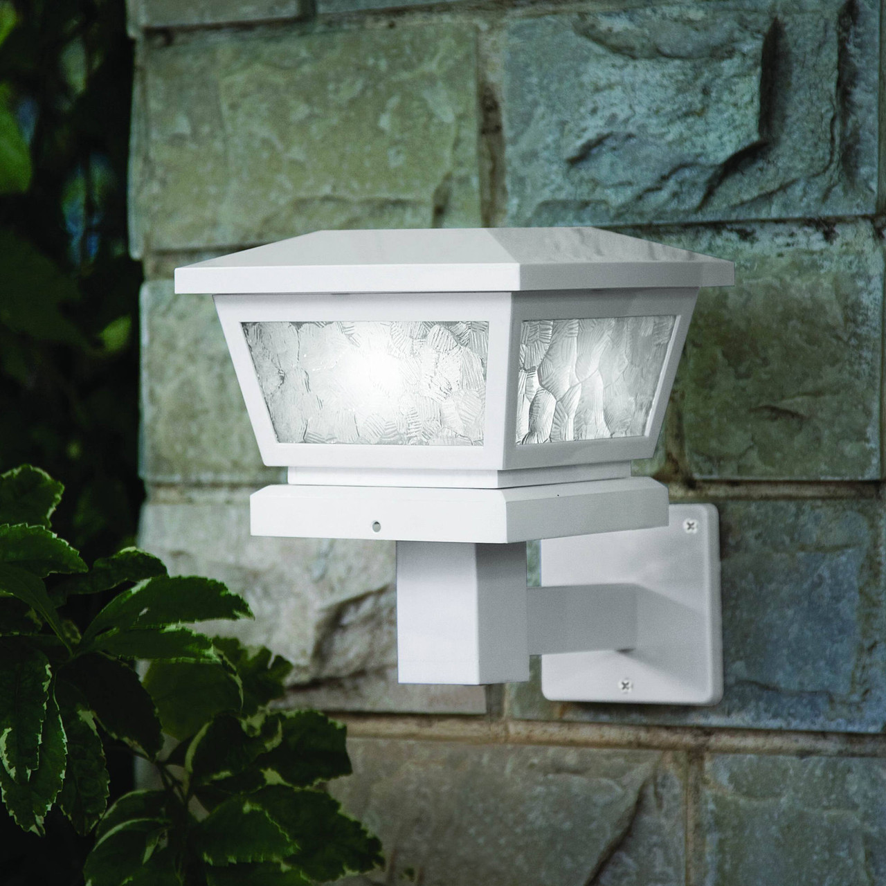 Classy Caps White Fairmont Solar Light Mounted on Stone Wall