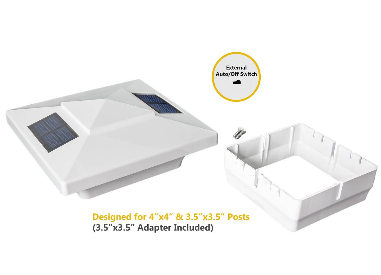 "Classy Caps Windsor 4 x 4 Solar Post Cap w/ Included 3.5"" Adapter"