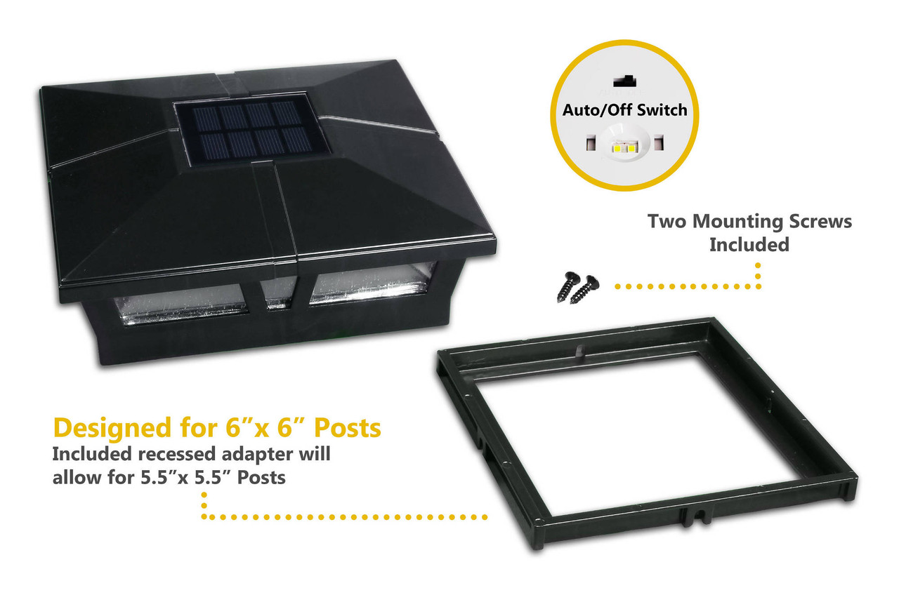 Cambridge 6 x 6 Solar Post Cap with Included Adapter