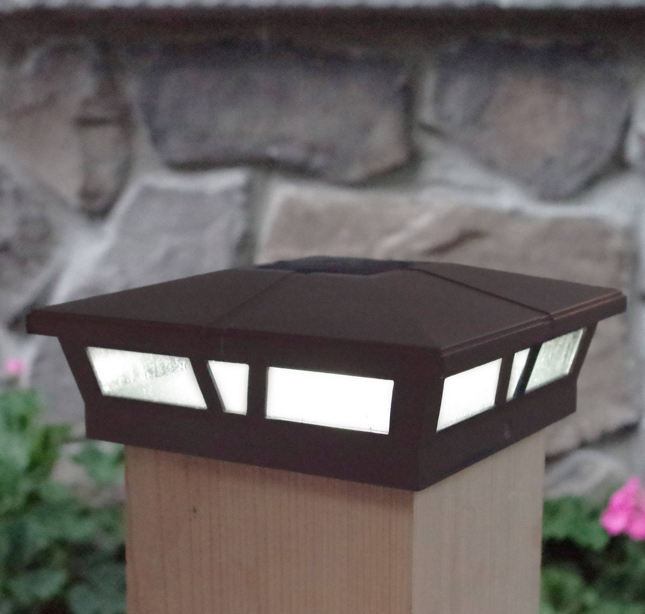 Cambridge Brown 6 x 6 Lighted Solar Post Cap on Post