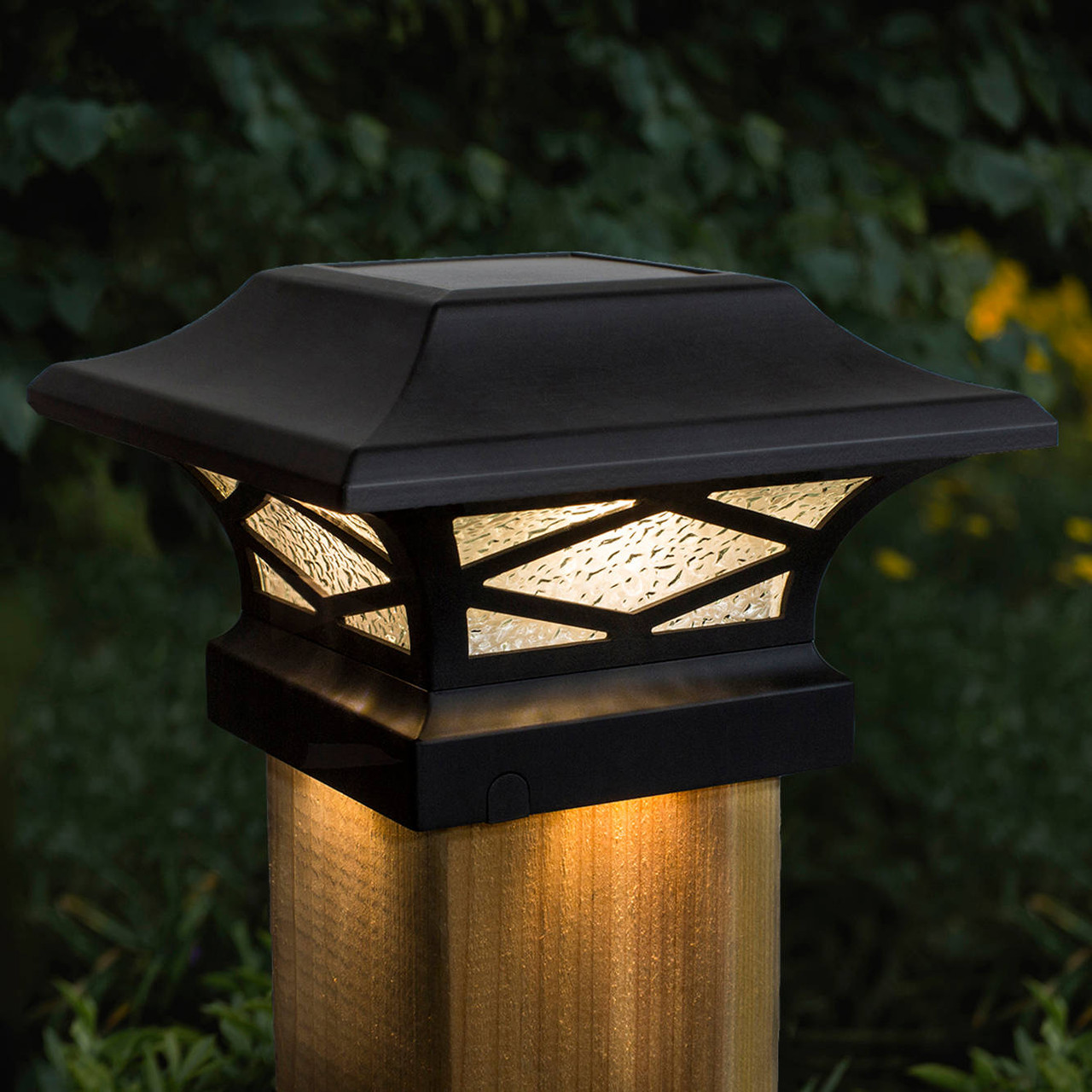Kingsbridge Black Solar Post Cap on Wood Post
