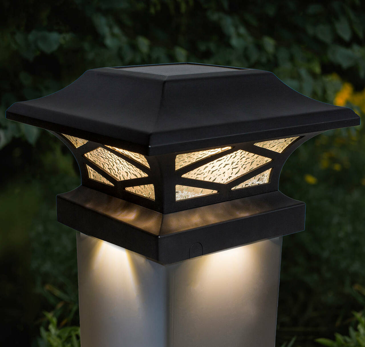 Black Kingsbridge Solar Post Cap Light on White Vinyl Post
