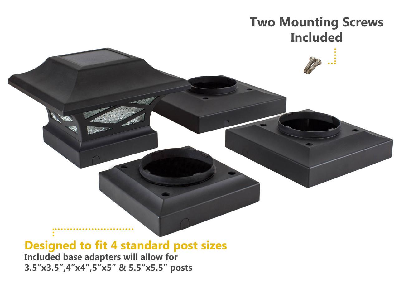 Black Kingsbridge Solar Post Cap with Included Post Adaptors