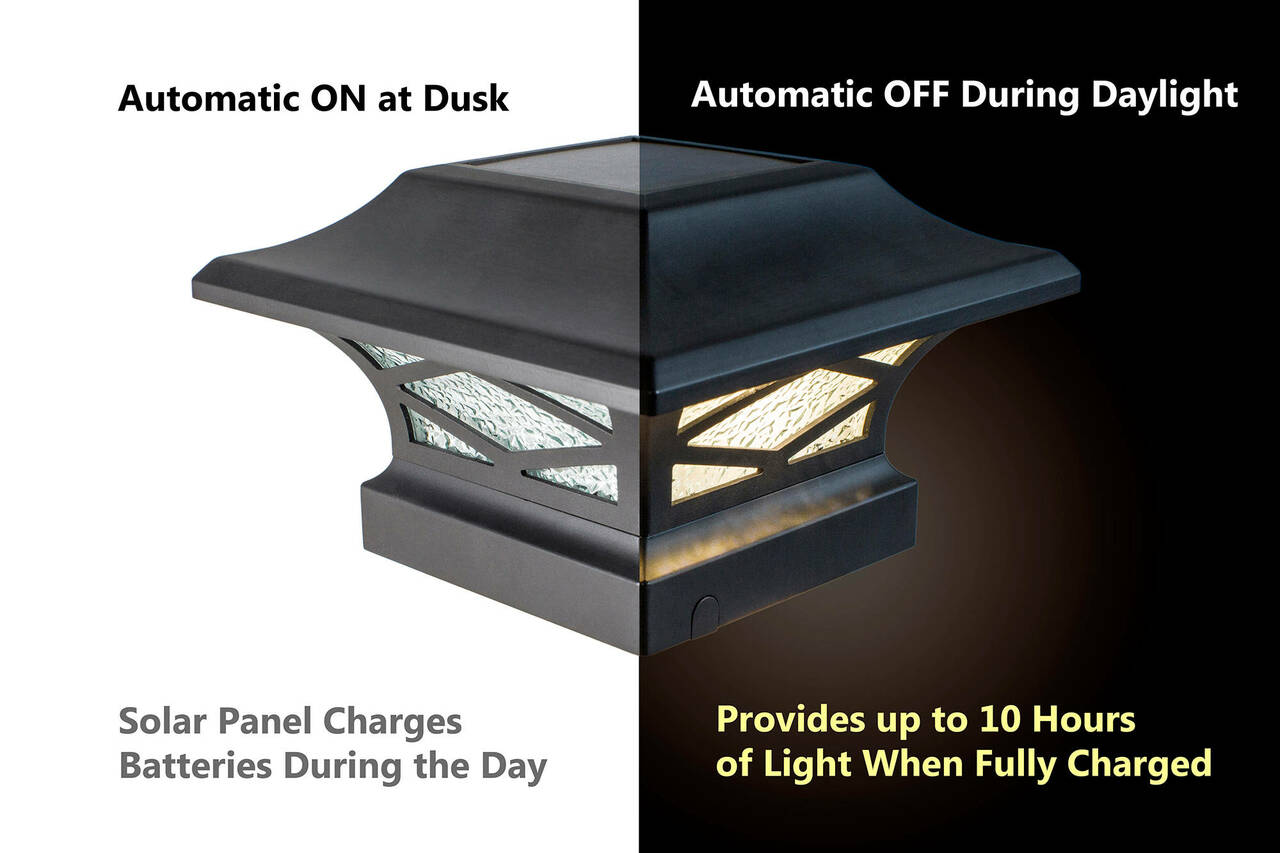 Kingsbridge Solar Post Cap Light Automatic On / Off Feature