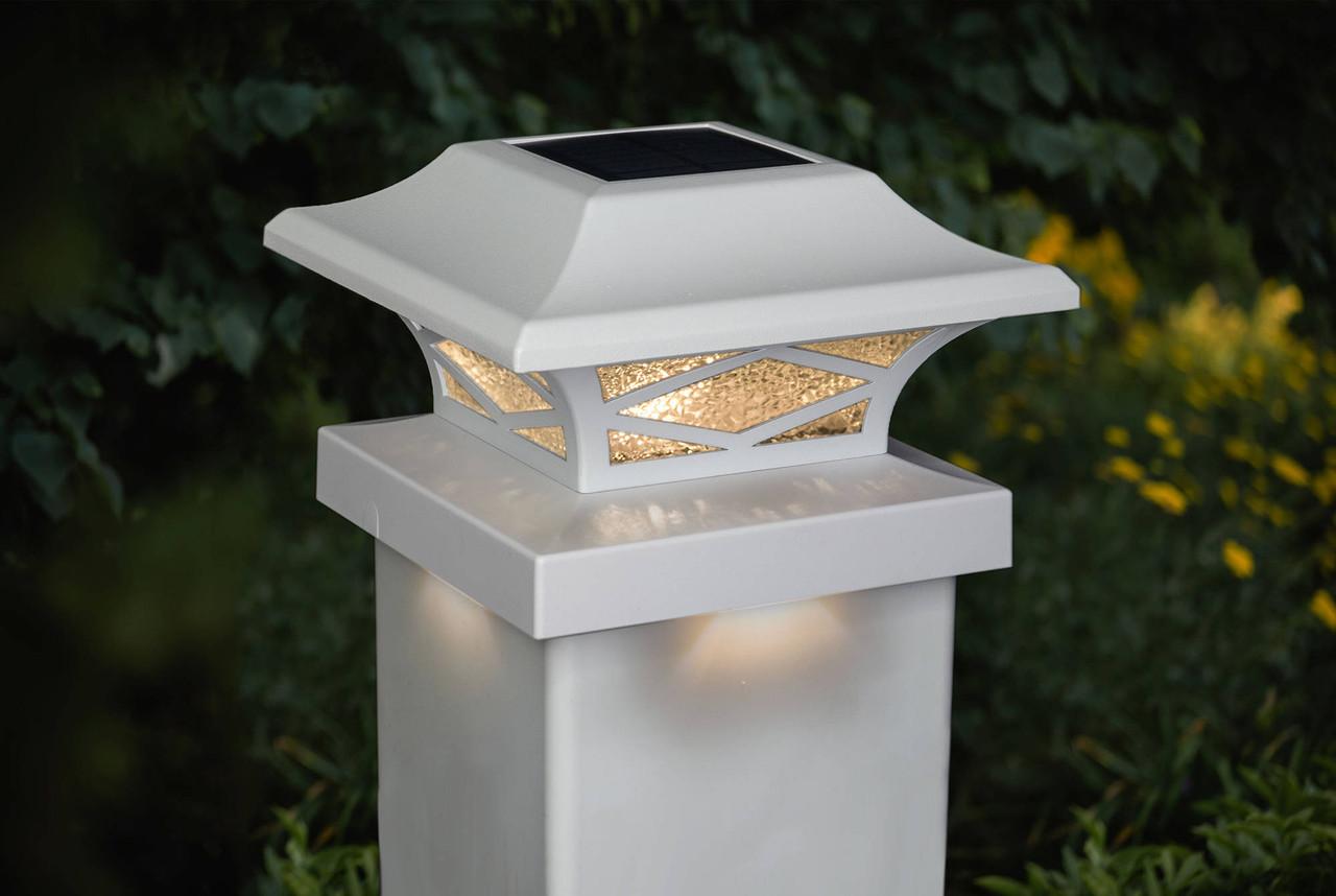 Kingsbridge White Cast Aluminum Solar Post Cap Light on White Vinyl Post