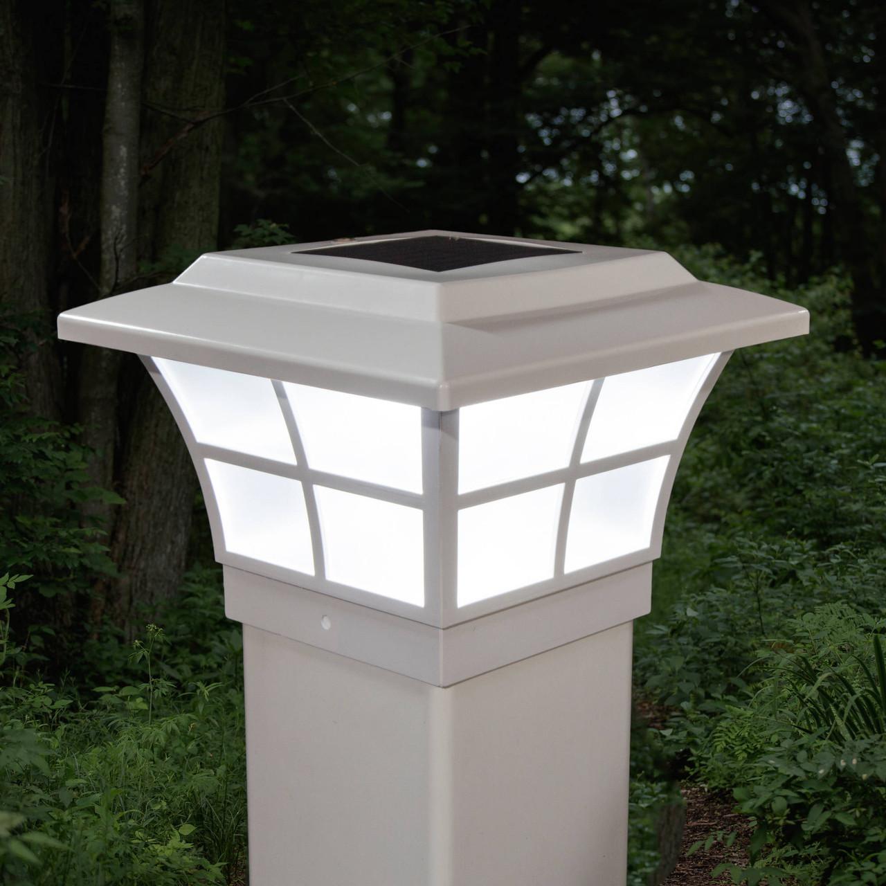 4x4 White PVC Prestige Solar Post Cap on White Vinyl Post (SLO79W)