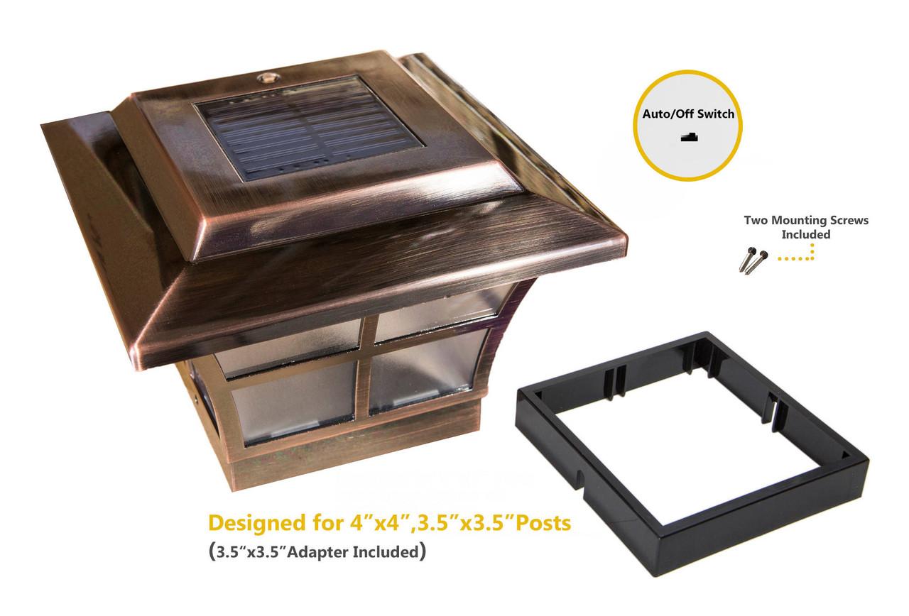 "Classy Caps' Prestige 4x4 Solar Post Cap w/ Included 3.5"" Adapter"