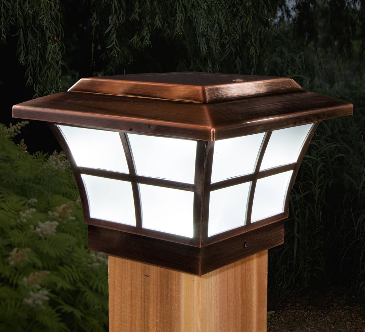 "4"" x 4"" Copper Plated Prestige Solar Post Cap Light from Classy Caps on Wood Post (SLO79C)"