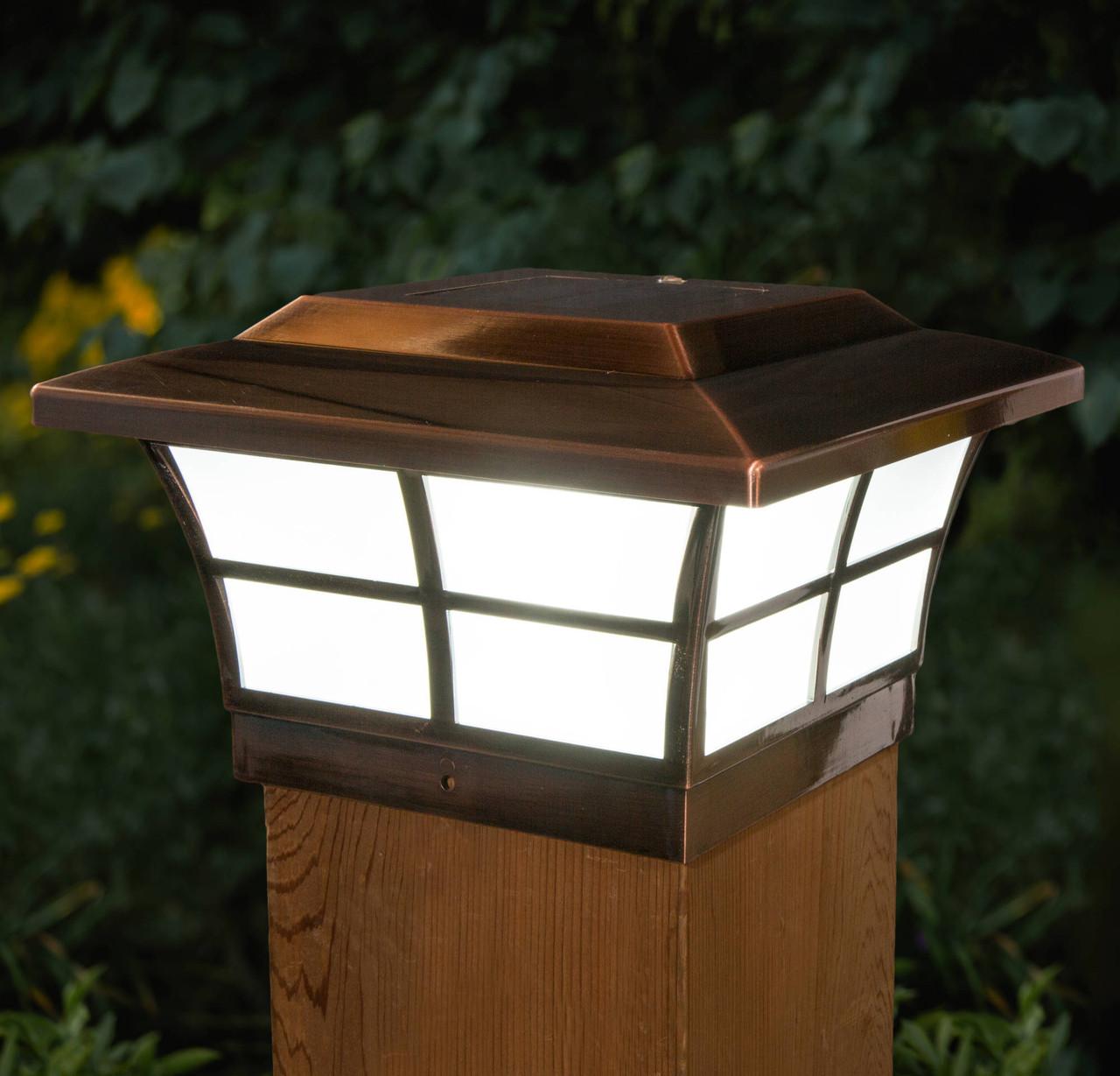 6x6 Copper Plated Prestige Solar Post Cap w/ Window Pane Design (SLO86)