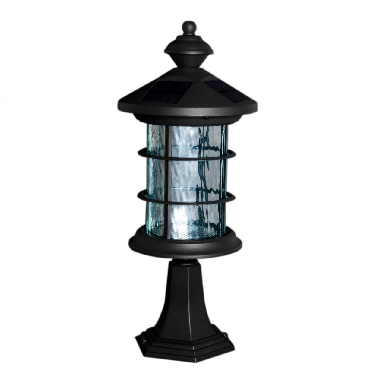Classy Caps' Hampton Black Aluminum Solar Lamp with Post Mount