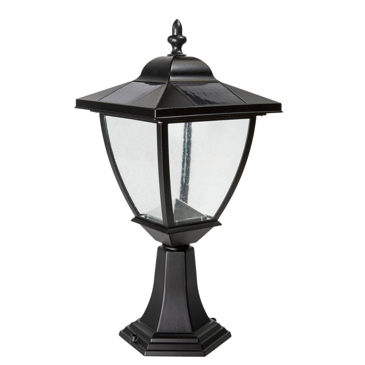 Elegante Black Aluminum Solar Post Lamp from Classy Caps