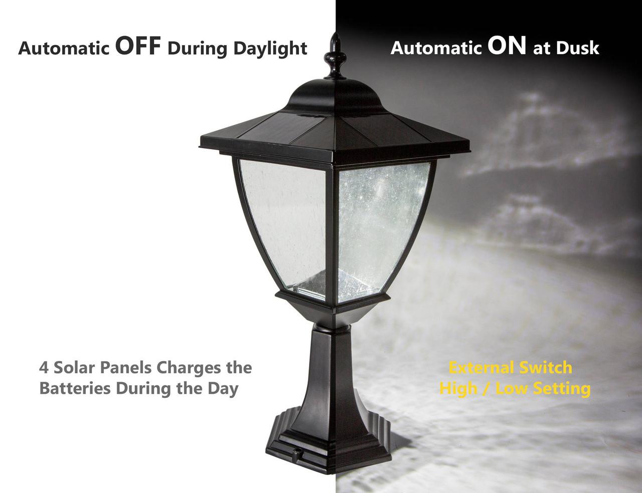 Classy Caps Elegante Black Aluminum Solar Lamp Automatic On / Off Feature