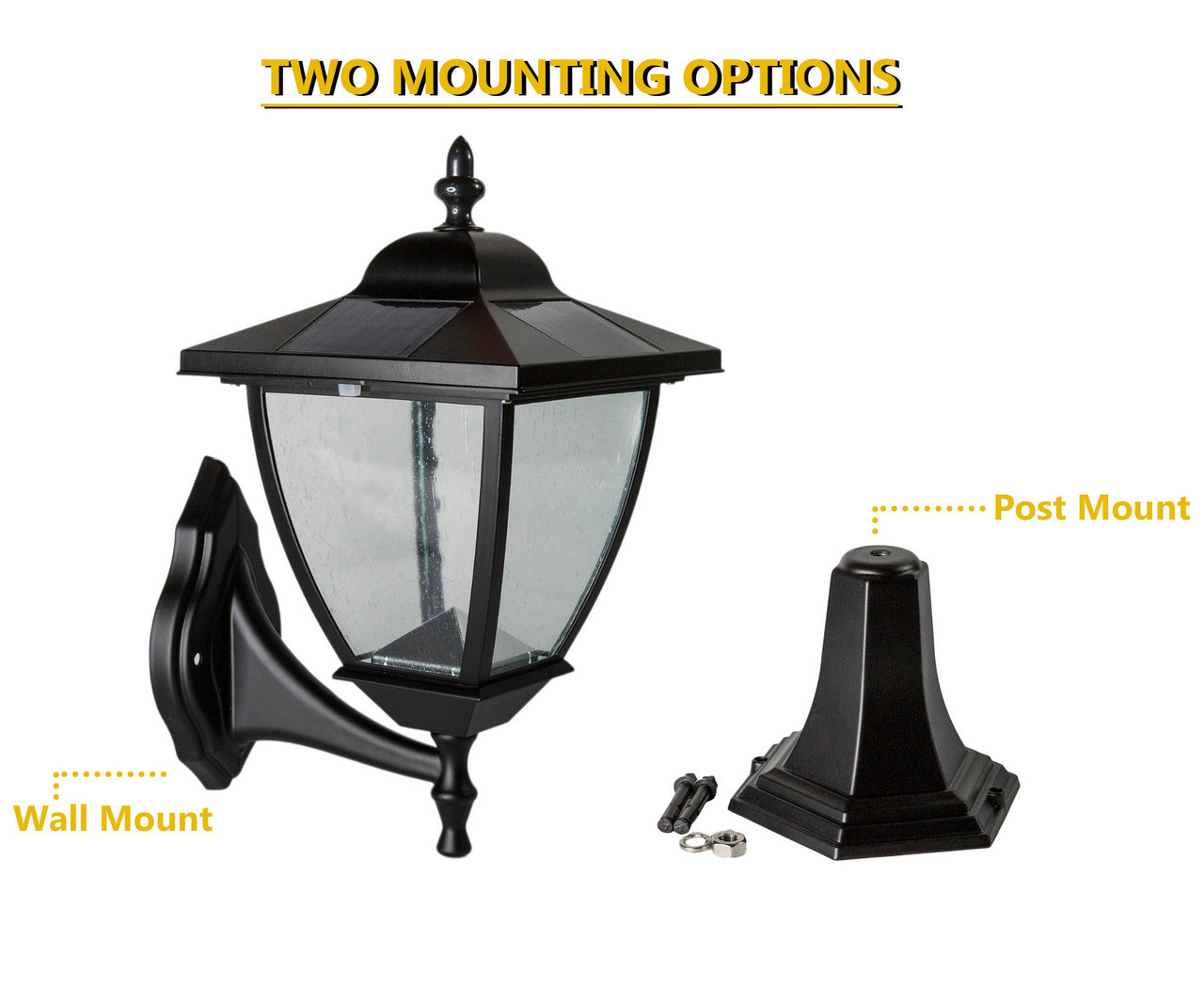 Mounting Options for the Classy Caps' Elegante Solar Lamp