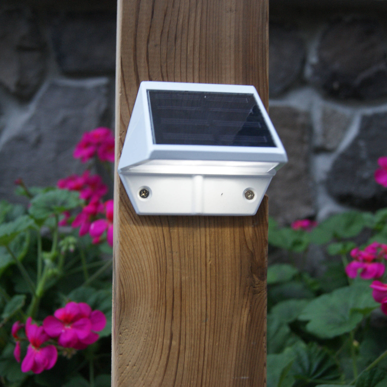 Black Solar Deck & Wall Light (SL179) from Classy Caps on Wood Post
