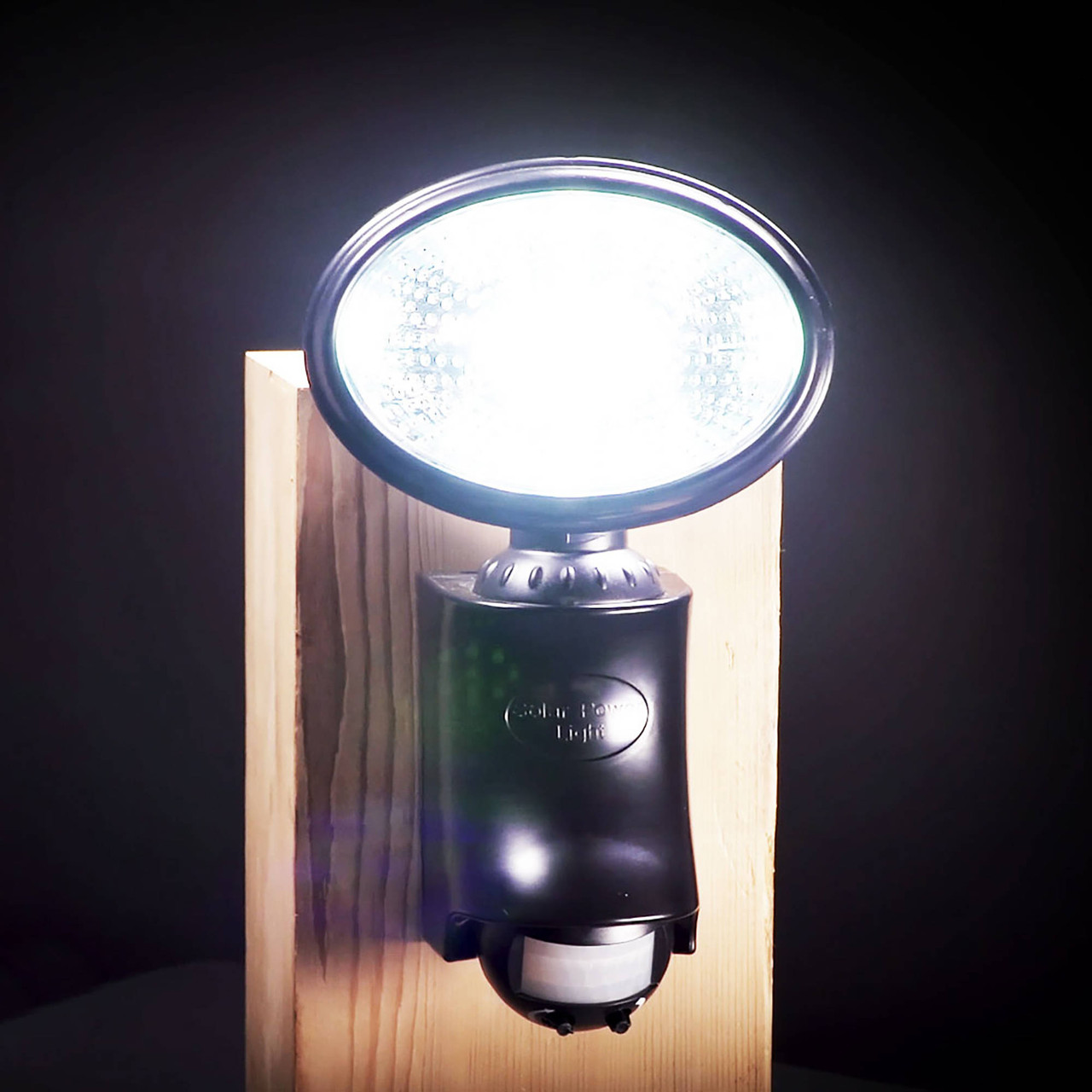 Classy Caps' Black Solar Motion Sensor Security Light with 9 LEDs on Post