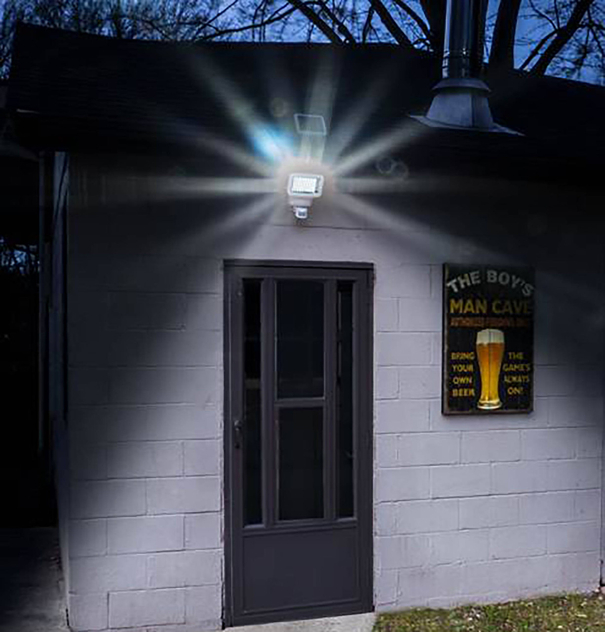 Super Bright Solar Motion Sensor Security Light from Classy Caps at Night