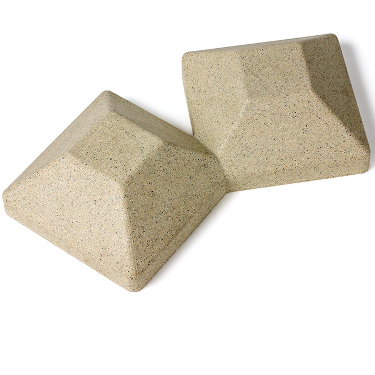 5 x 5 Beige Granite 45-Degree Double Cap for Bufftech Allegheny & Sherwood Molded Fence Styles