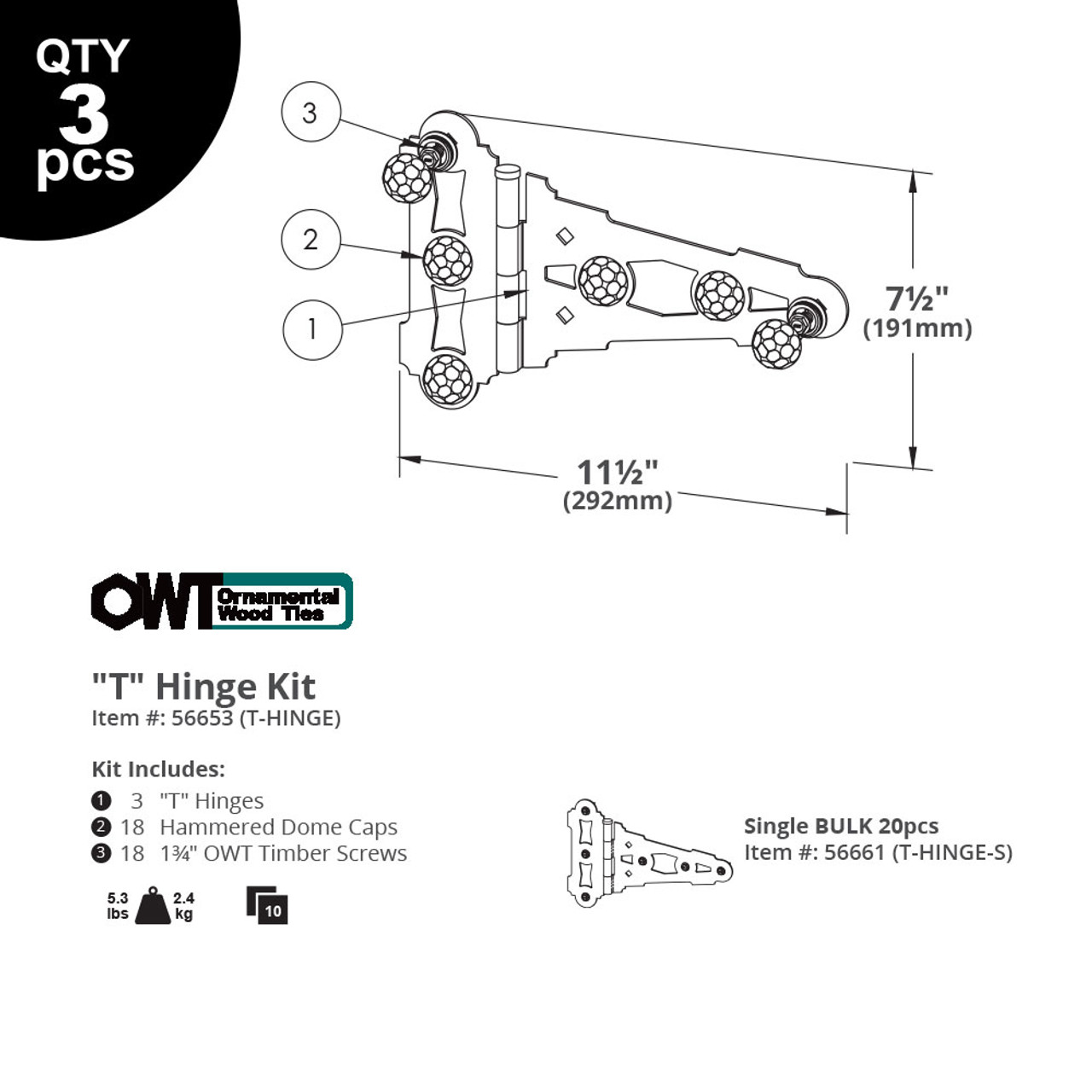 """""""T"""" Hinges from OZCO OWT Hardware - Illustration and Specifications"""