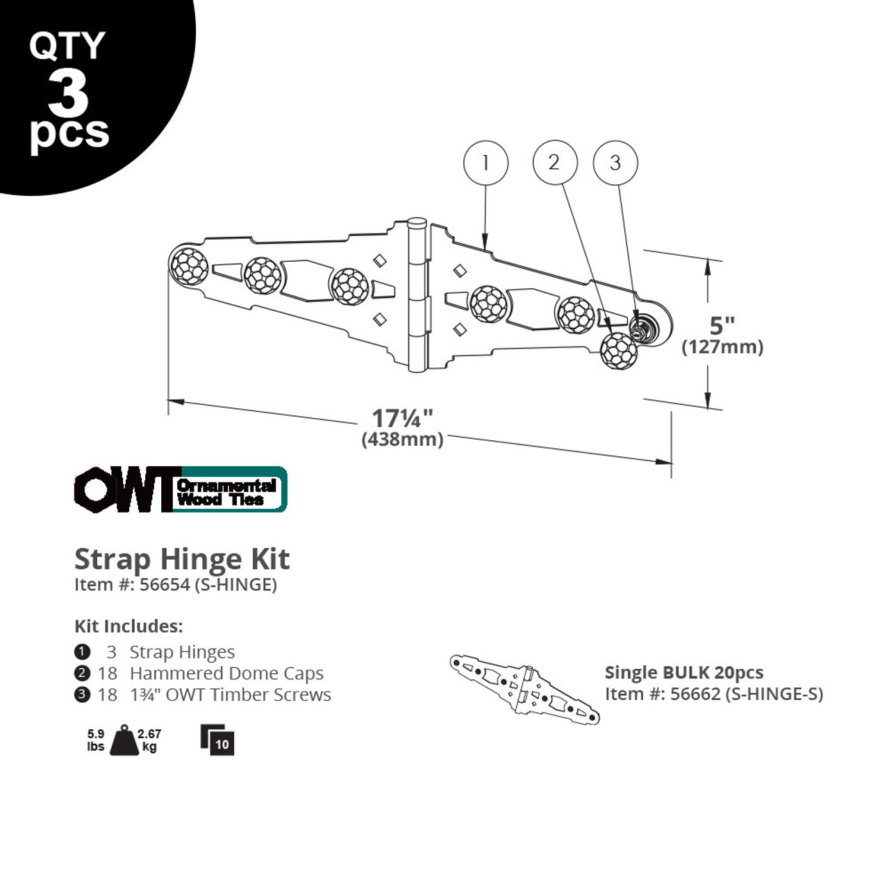 Strap Hinges from OZCO OWT Hardware - Illustration and Specifications