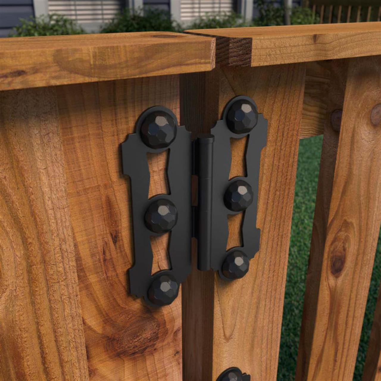 OZCO Ornamental Wood Ties Butterfly Gate Hinge on Wood Gate