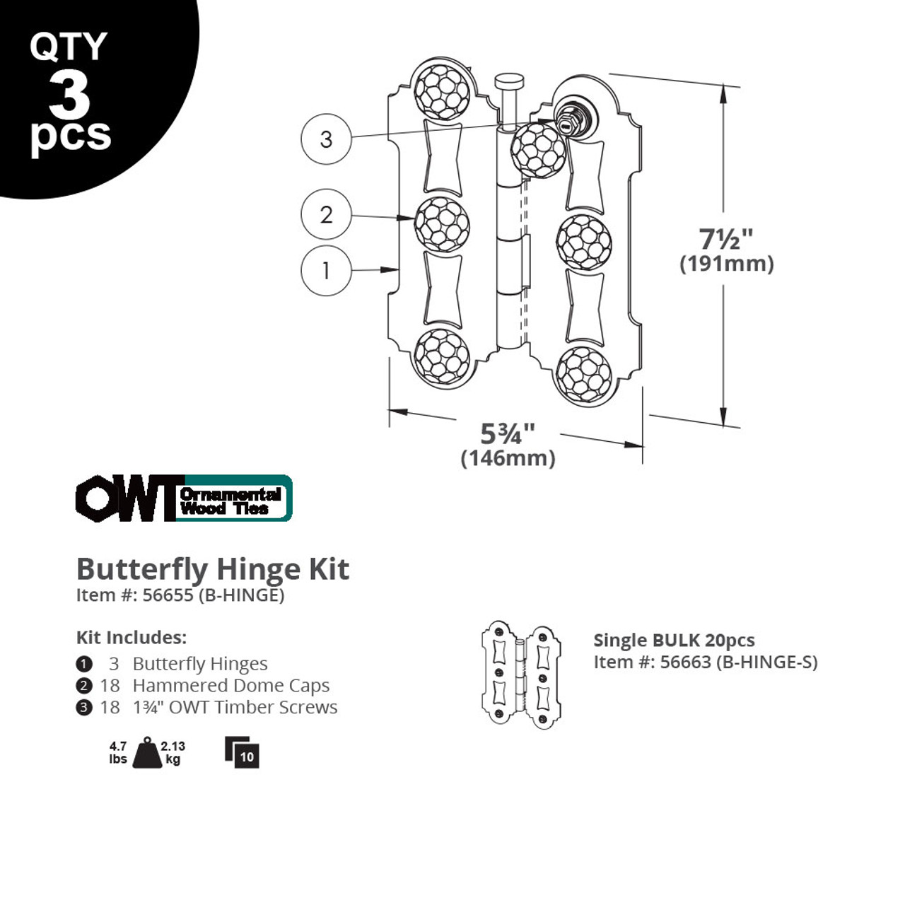 OZCO OWT Butterfly Hinge Drawing & Specifications