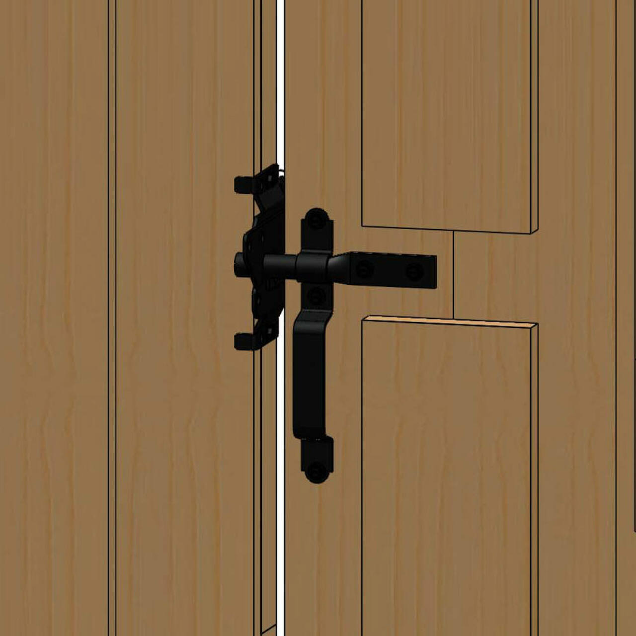 Typical Installation for the OZCO Ornamental Wood Ties Gate Latch