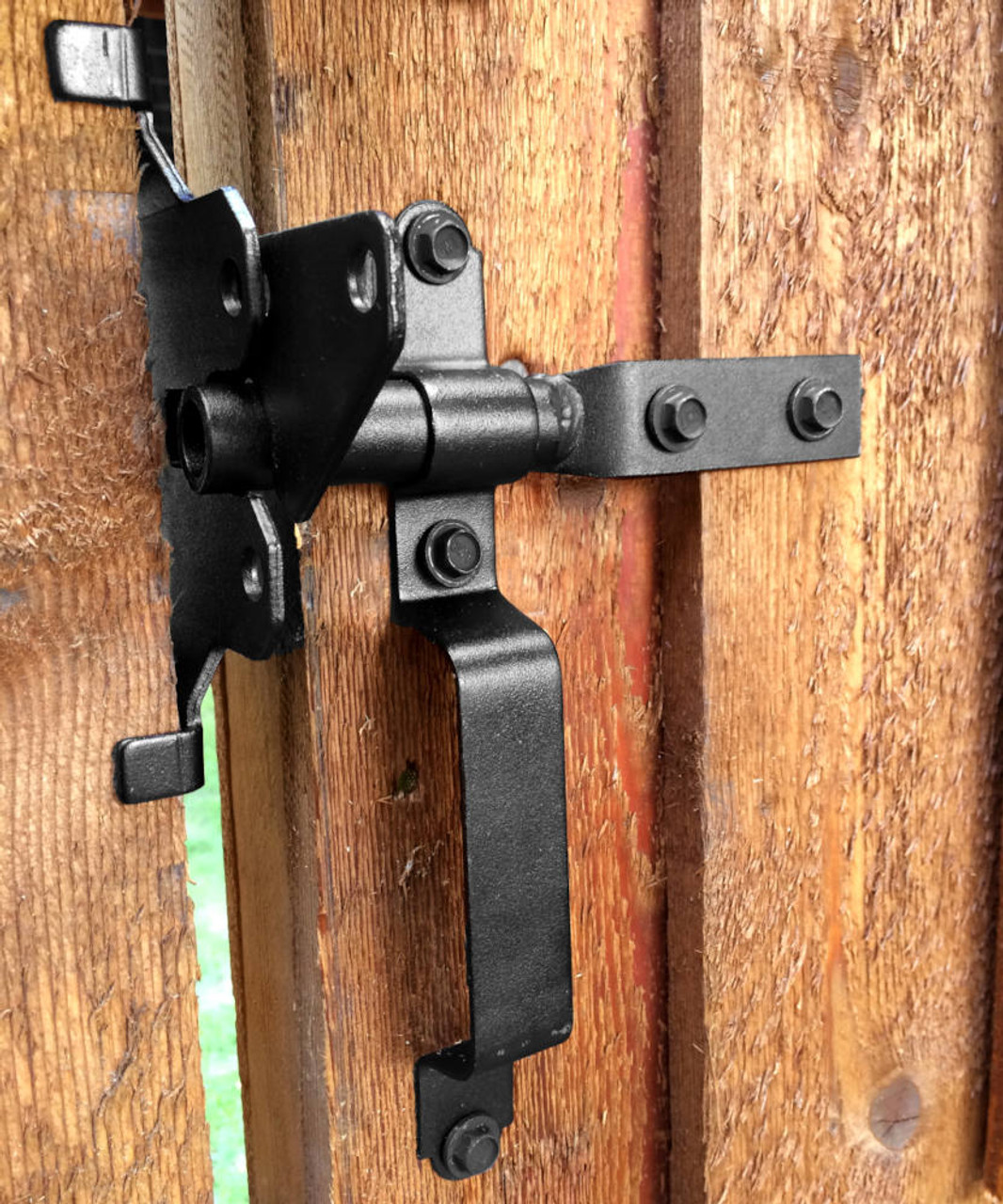 OZCO OWT Wood Gate Latch with Handle on Wood Gate.