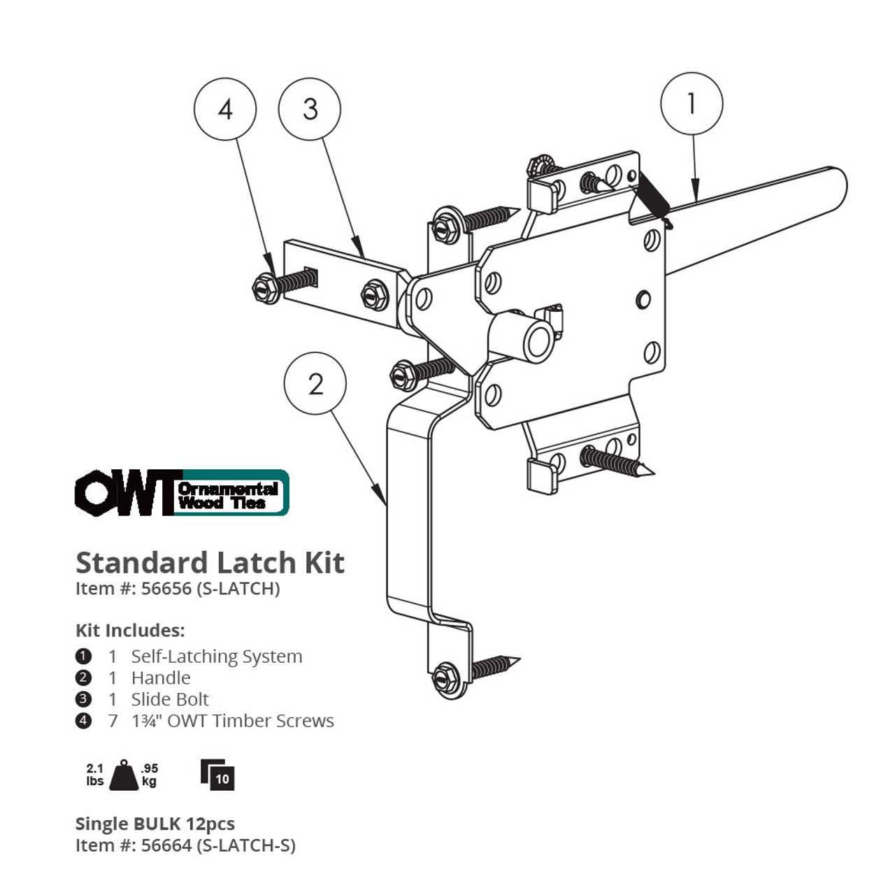 Drawing & Specifications for OZCO OWT 56656 Standard Gate Latch