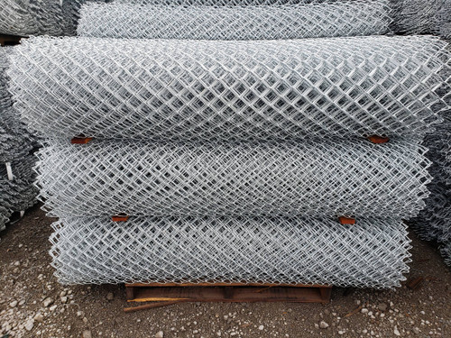 "Rolls of 9 gauge x 2"" Mesh Galvanized Before Weave GBW Chain Link Fabric"