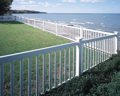 White Bufftech Victorian Contemporary Fence