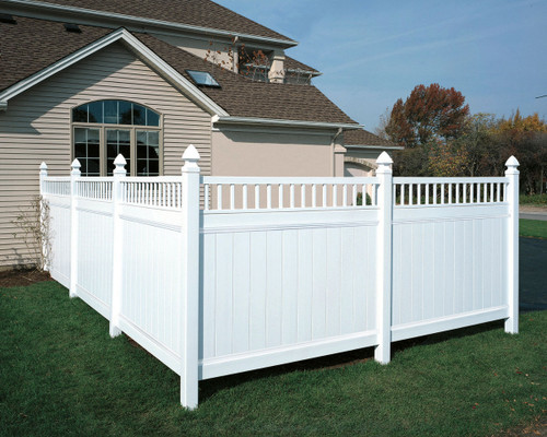 White Bufftech Chesterfield Privacy Fence with Victorian Accent