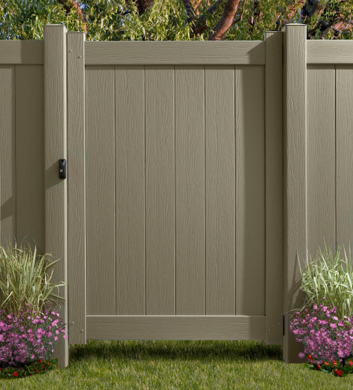 Bufftech Chesterfield Gate with Clay CertaGrain Texture. Posts &  Hardware Sold Separately.