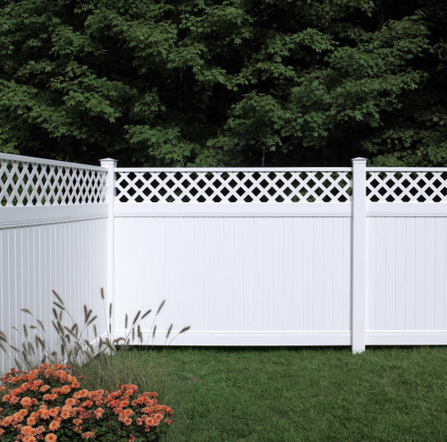 Bufftech New Lexington with Lattice Accent White Vinyl Fence