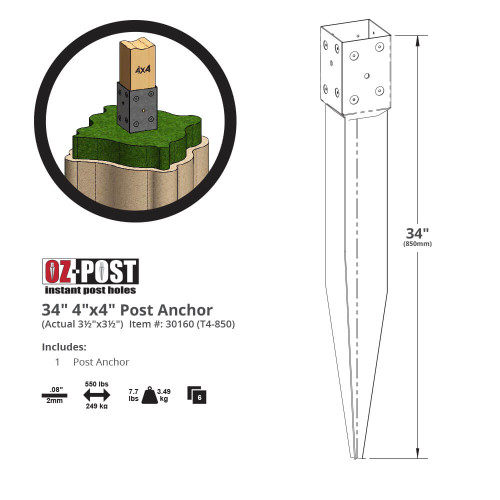 T4-850 OZ-Post Dimension Drawing