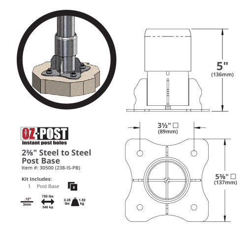 "OZ-Post 238-IS-PB Post Base for 2-3/8"" Posts Dimension Drawing"