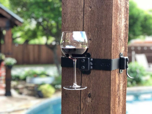 OWT Hardware Wine Glass Holder Installed on Wood Post