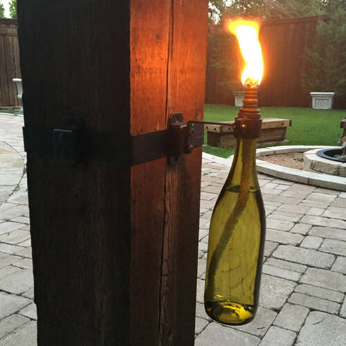 Wine Bottle Tiki Torch made with OZCO OWT Hardware Wine Bottle Holder