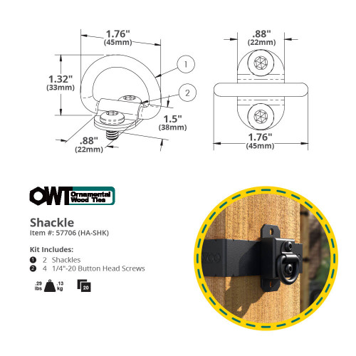 OZCO Ornamental Wood Ties (OWT) Hardware Shackle Ring Dimension Drawing