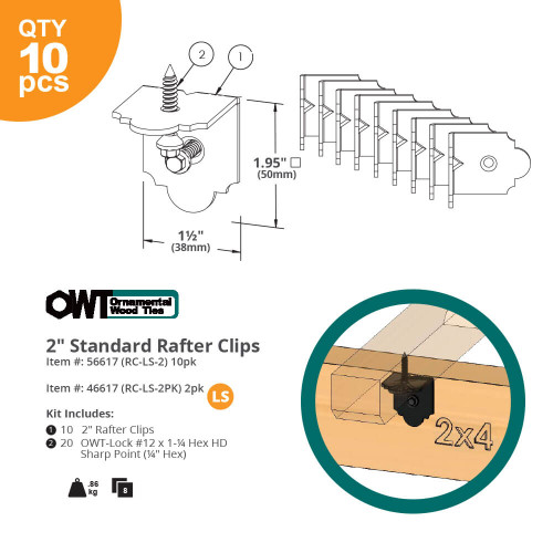 "OZCO OWT Laredo Sunset 2"" Rafter Clips Dimension Drawing"