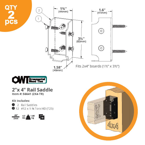 OZCO OWT 2X4-TR Top Rail Saddles for 2x4 Rails Dimension Drawing