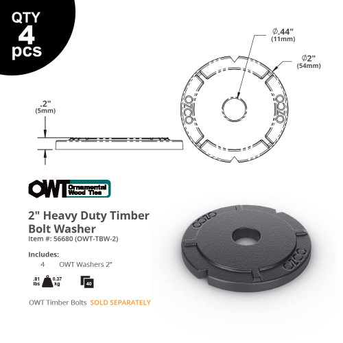 OZCO OWT HD Timber Bolt WASH-TB Dimension Drawing
