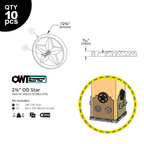 "OZCO OWT 2-3/8"" Decorative Metal Stars - Dimension Drawing"
