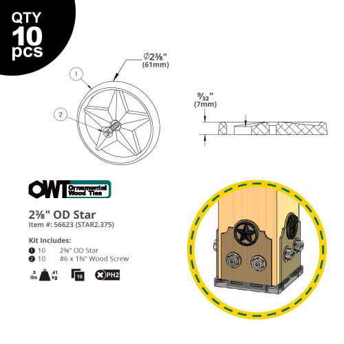 "OZCO OWT 2-3/8"" Decorative Metal Stars - Dimension Drawing"