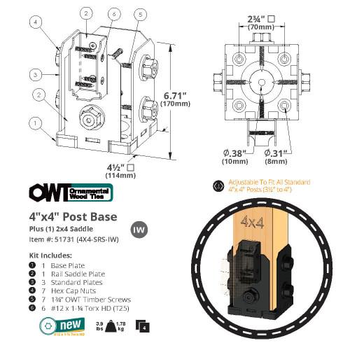 OZCO OWT Hardware 4 x 4 Post Base with Single Rail Saddle