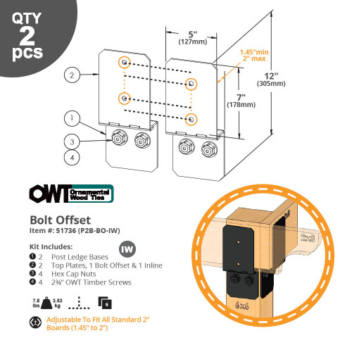 OZCO OWT Ironwood Offset Post to Beam Connector - Dimension Drawing