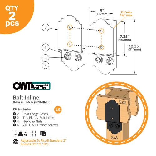 OZCO OWT P2B-BI-LS Laredo Sunset Post to Beam Bolt Inline Connector - Dimension Drawing